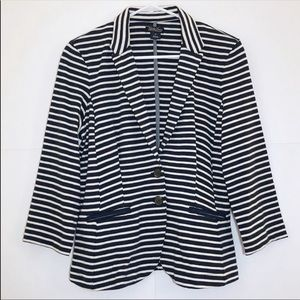 Lucky Brand Cotton Navy & White Striped Blazer